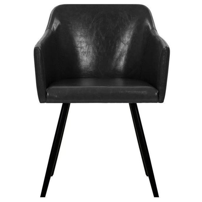 Chaise simili cuir noir et pieds métal noir Sary - Lot de 4 - Photo n°2