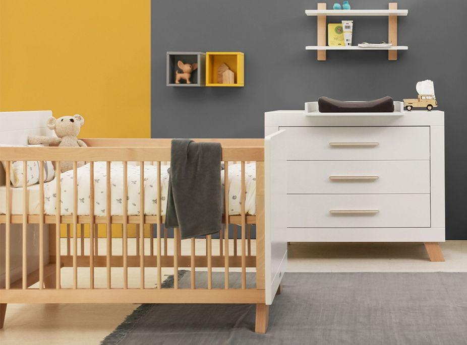 Chambre bébé 3 pièces hêtre massif clair et blanc Lisa - Photo n°1