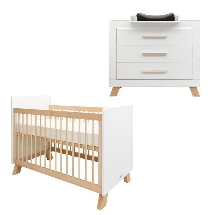 Chambre bébé 3 pièces hêtre massif clair et blanc Lisa - Photo n°2