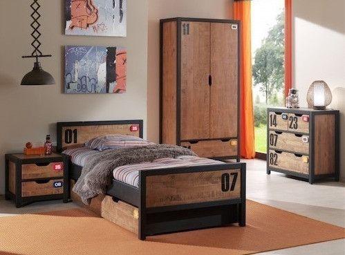 Chambre enfant 3 pièces pin massif foncé et noir Alex 90x200 cm - Photo n°1