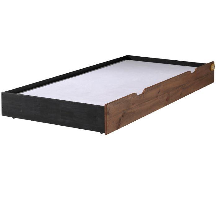 Chambre enfant 3 pièces pin massif foncé et noir Alex 90x200 cm - Photo n°5