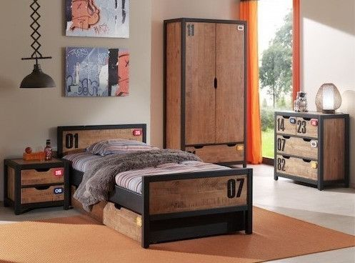 Chambre enfant 4 pièces lit gigogne chevet et armoire 2 portes pin massif foncé et noir Alex 90x200 cm - Photo n°1