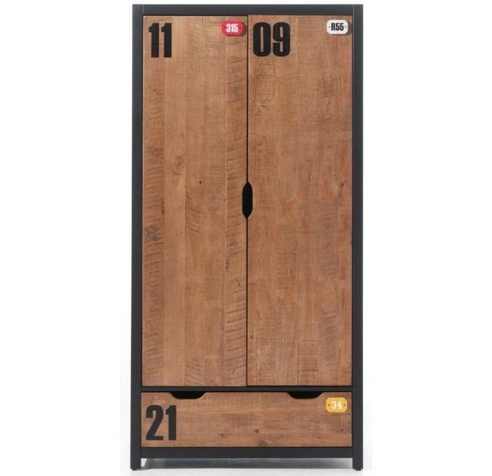 Chambre enfant 4 pièces lit gigogne chevet et armoire 2 portes pin massif foncé et noir Alex 90x200 cm - Photo n°2