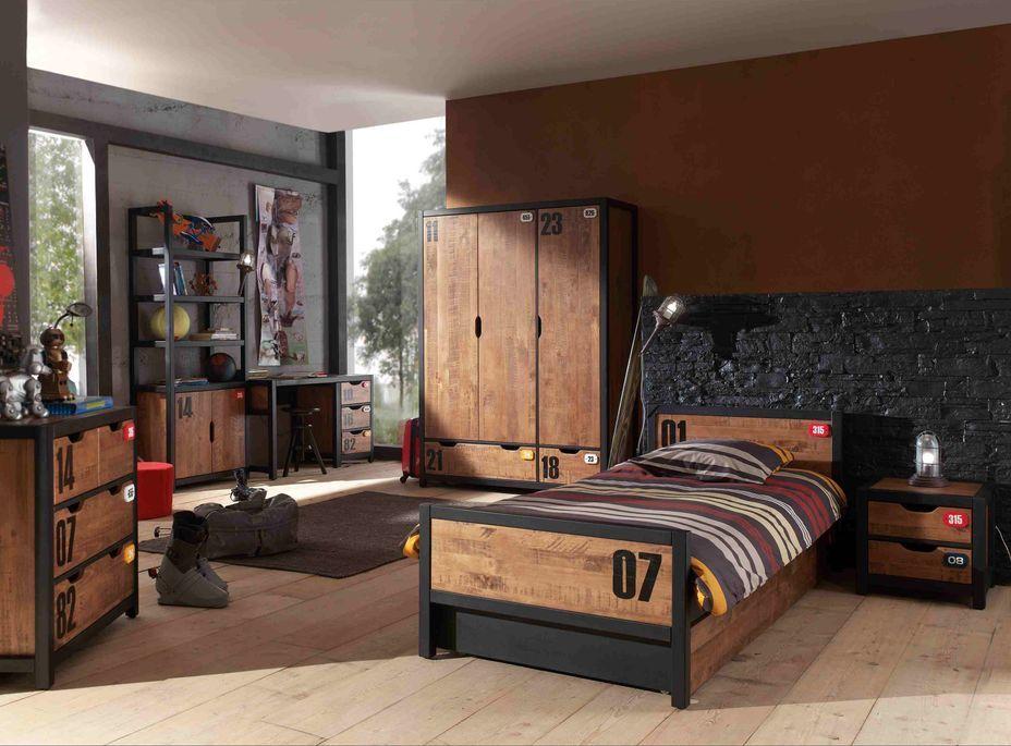 Chambre enfant 4 pièces lit gigogne chevet et armoire 3 portes pin massif foncé et noir Alex 90x200 cm - Photo n°1
