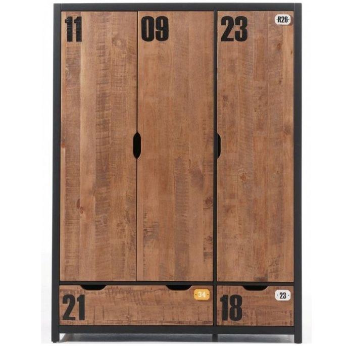 Chambre enfant 4 pièces lit gigogne chevet et armoire 3 portes pin massif foncé et noir Alex 90x200 cm - Photo n°6