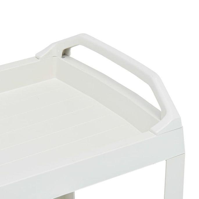 Chariot à boissons Blanc 69x53x72 cm Plastique - Photo n°5