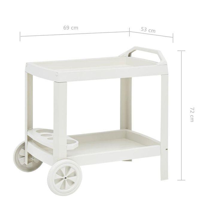Chariot à boissons Blanc 69x53x72 cm Plastique - Photo n°7