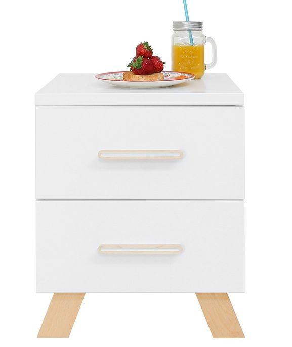 Chevet 2 tiroirs blanc et pieds hêtre massif clair Lisa - Photo n°3