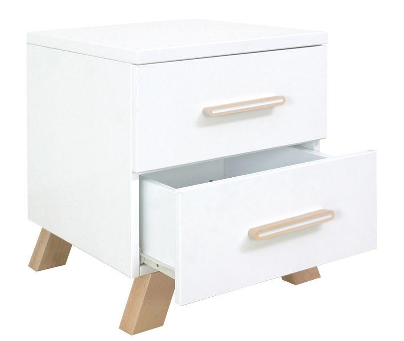 Chevet 2 tiroirs blanc et pieds hêtre massif clair Lisa - Photo n°4