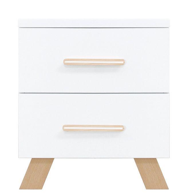 Chevet 2 tiroirs blanc et pieds hêtre massif clair Lisa - Photo n°1