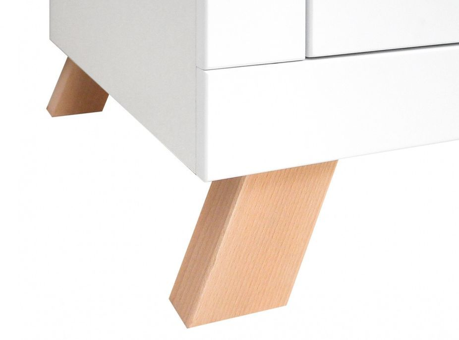 Chevet 2 tiroirs blanc et pieds hêtre massif clair Lisa - Photo n°5