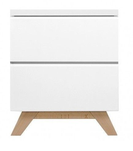 Chevet 2 tiroirs bois laqué blanc et pieds hêtre clair Lynn - Photo n°1