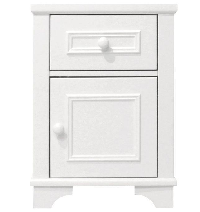 Chevet enfant 1 tiroir 1 porte blanc avec moulures Charlotte - Photo n°1