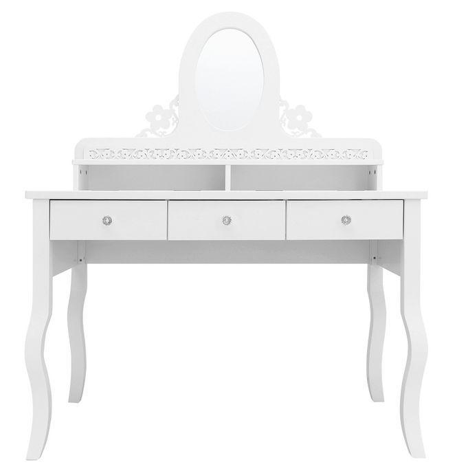 Coiffeuse 3 tiroirs 2 niches hêtre massif blanc Diva - Photo n°1