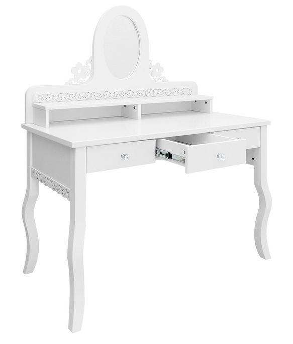 Coiffeuse 3 tiroirs 2 niches hêtre massif blanc Diva - Photo n°2