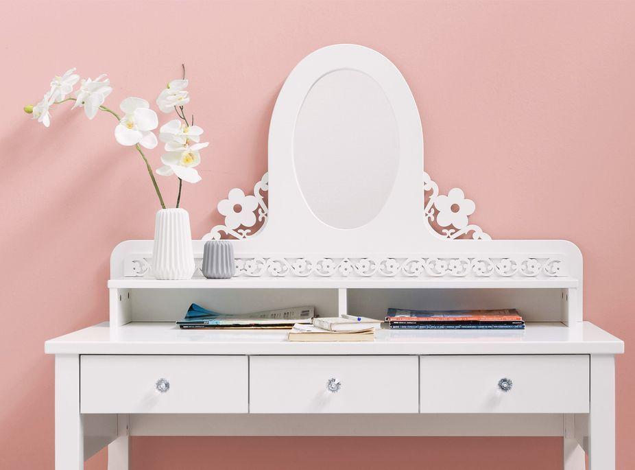 Coiffeuse 3 tiroirs 2 niches hêtre massif blanc Diva - Photo n°3