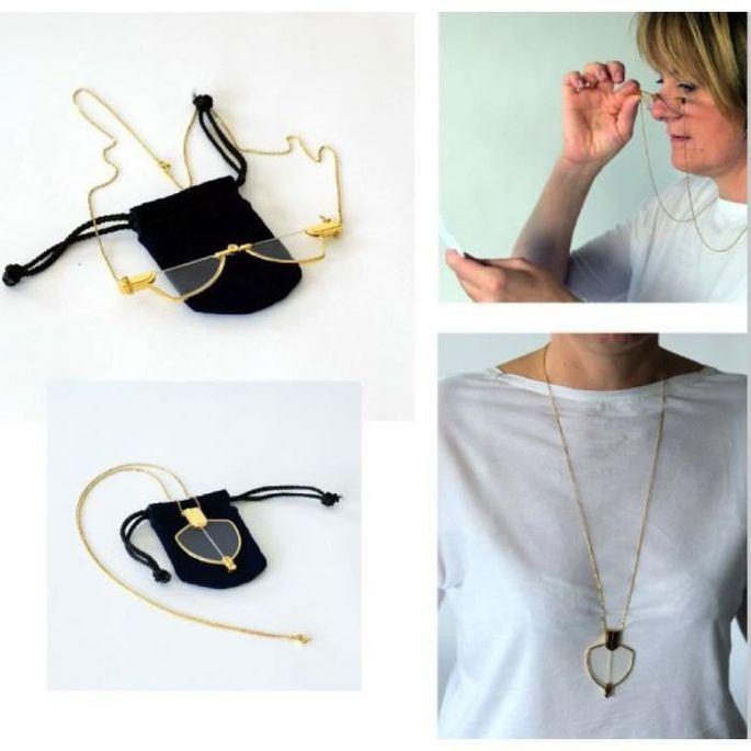 Collier lunettes loupe VITAEASY - Chaine forme sautoir avec fermoir, longueur 75 cm - Grossis X2 - Photo n°1