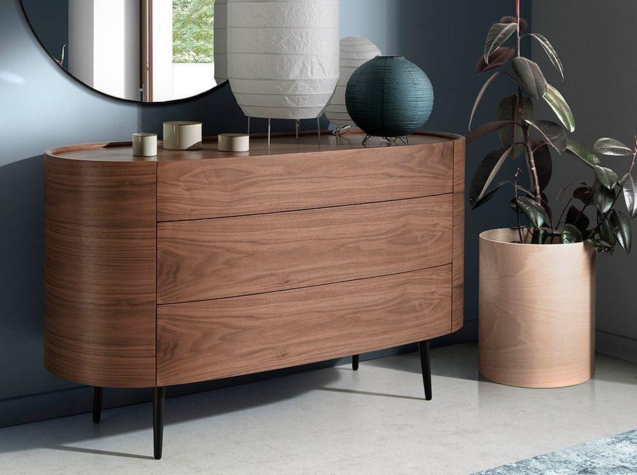Commode 3 grands tiroirs ovale bois noyer et pieds noir Keliane 135 cm - Photo n°4