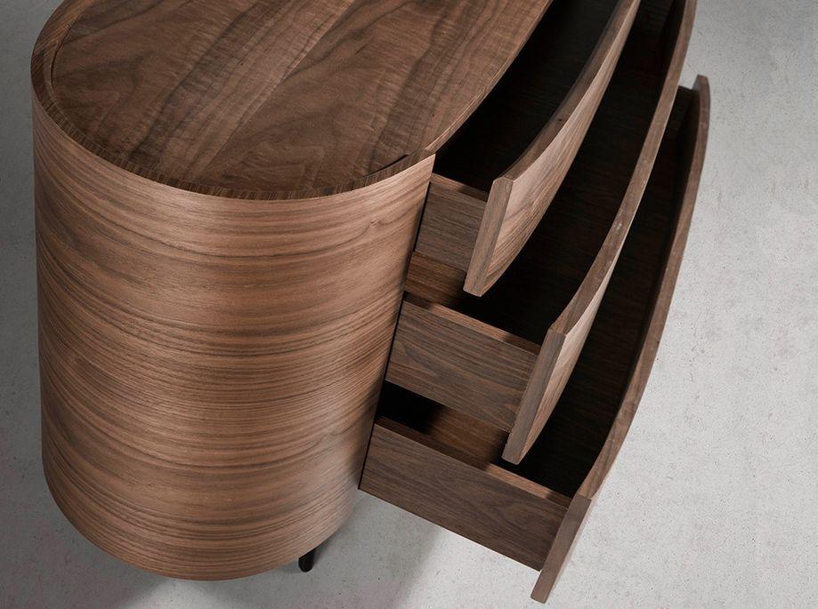 Commode 3 grands tiroirs ovale bois noyer et pieds noir Keliane 135 cm - Photo n°6
