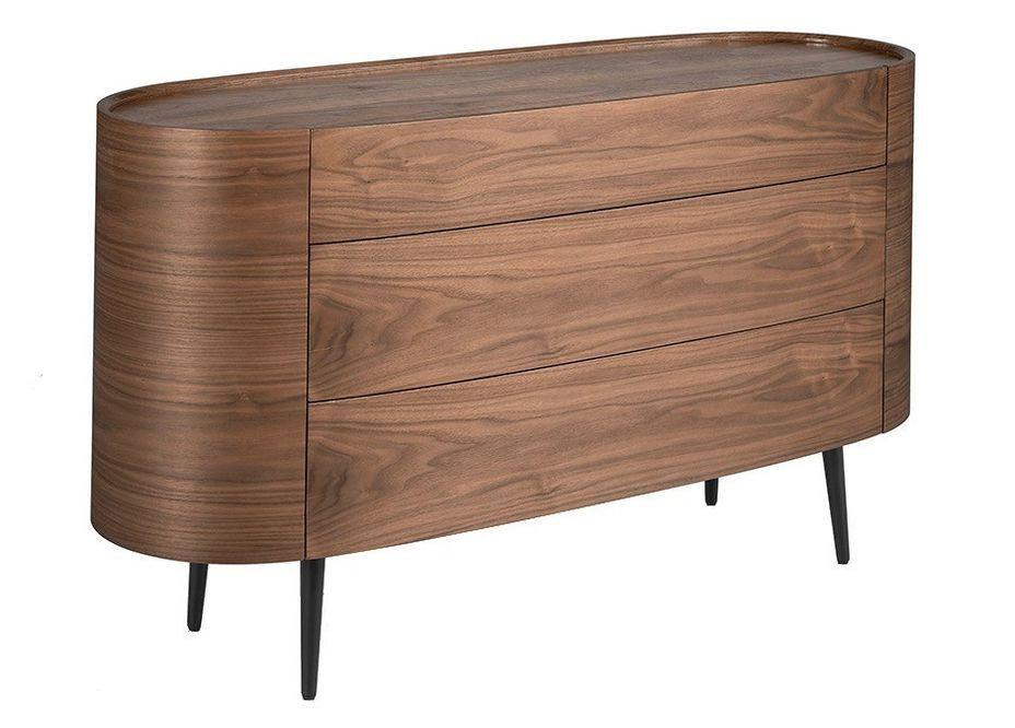 Commode 3 grands tiroirs ovale bois noyer et pieds noir Keliane 135 cm - Photo n°1