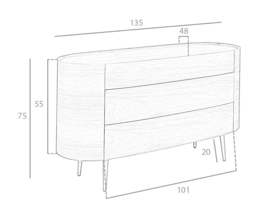 Commode 3 grands tiroirs ovale bois noyer et pieds noir Keliane 135 cm - Photo n°7