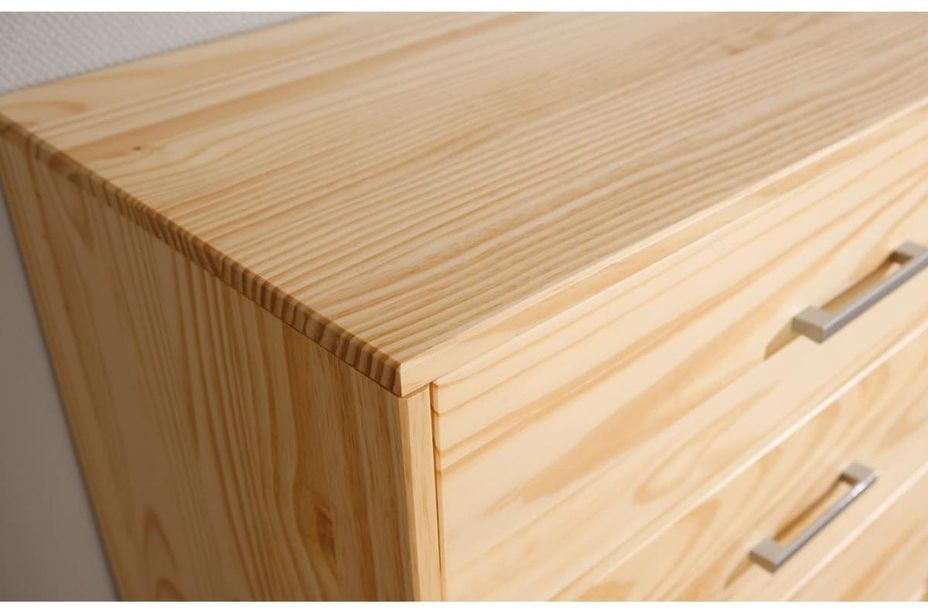 Commode 3 tiroirs pin massif clair Jersa - Photo n°5