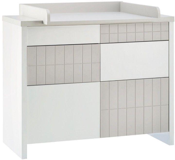 Commode à langer 4 tiroirs laqué blanc et taupe Joy - Photo n°1