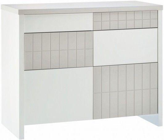 Commode à langer 4 tiroirs laqué blanc et taupe Joy - Photo n°2