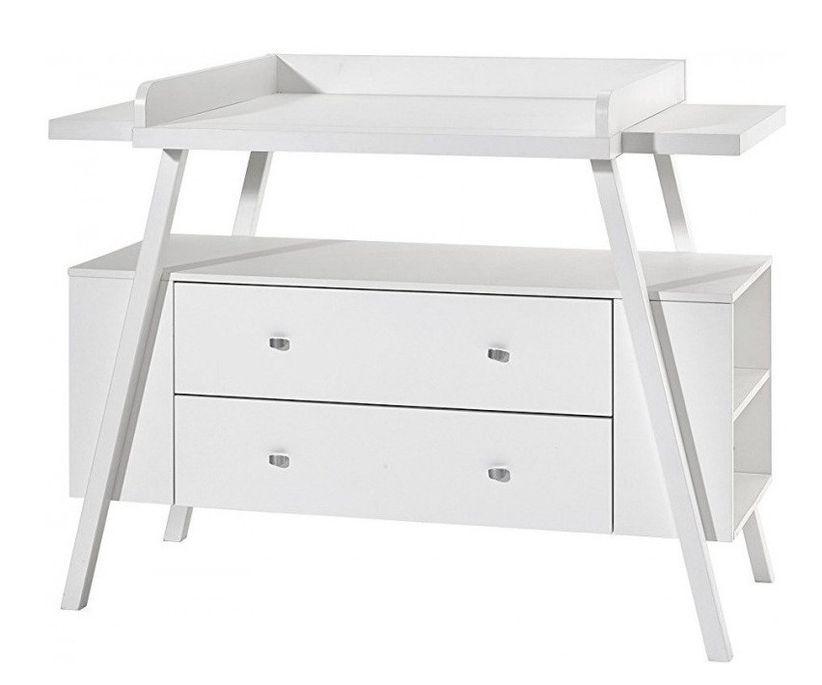 Commode avec plan à langer 2 tiroirs bois laqué blanc Holly White - Photo n°1