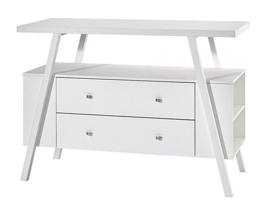 Commode avec plan à langer 2 tiroirs bois laqué blanc Holly White - Photo n°2