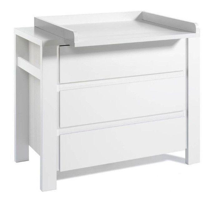 Commode avec plan à langer 3 tiroirs laqué blanc Milano White 110 cm - Photo n°1