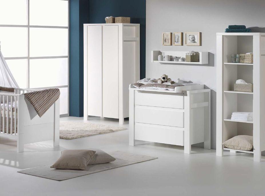 Commode avec plan à langer 3 tiroirs laqué blanc Milano White 110 cm - Photo n°2
