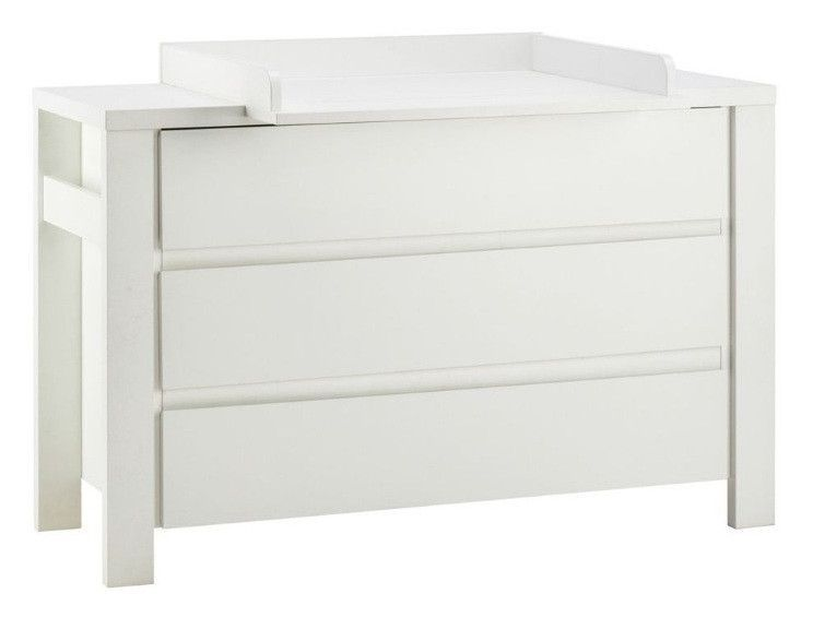 Commode avec plan à langer 3 tiroirs laqué blanc Milano White 139 cm - Photo n°1