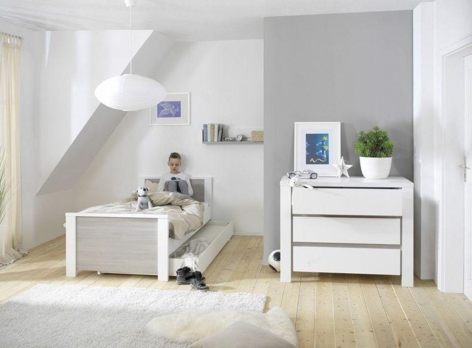 Commode avec plan à langer laqué blanc et pin gris Milano Pinie - Photo n°3