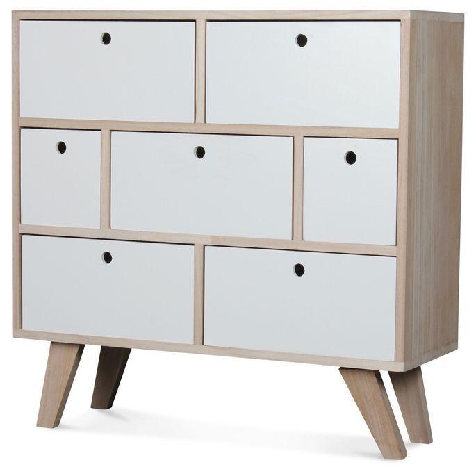 Commode bois scandinave 7 tiroirs blanc Norvik - Photo n°1