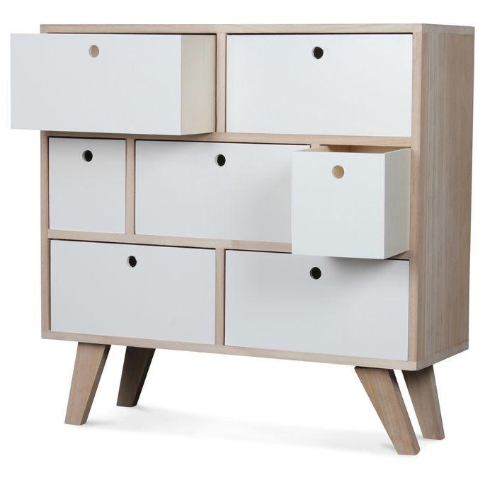 Commode bois scandinave 7 tiroirs blanc Norvik - Photo n°2