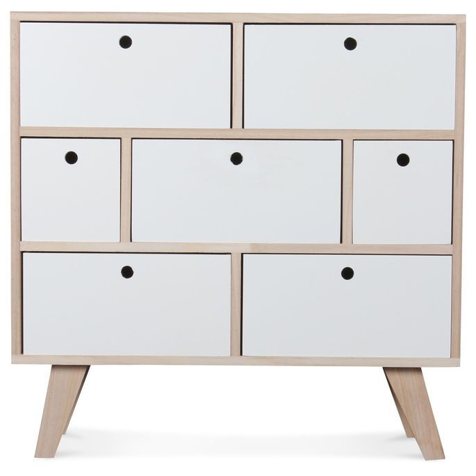 Commode bois scandinave 7 tiroirs blanc Norvik - Photo n°3