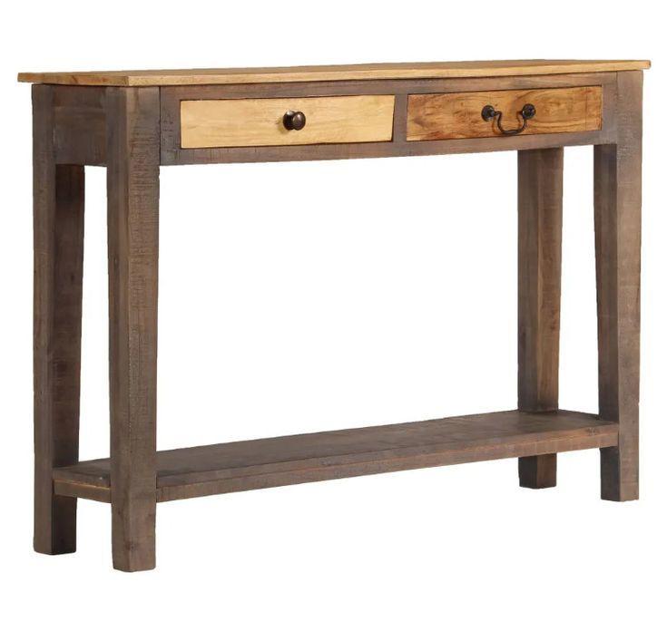 Console 2 tiroirs bois massif foncé et clair Guilty - Photo n°1