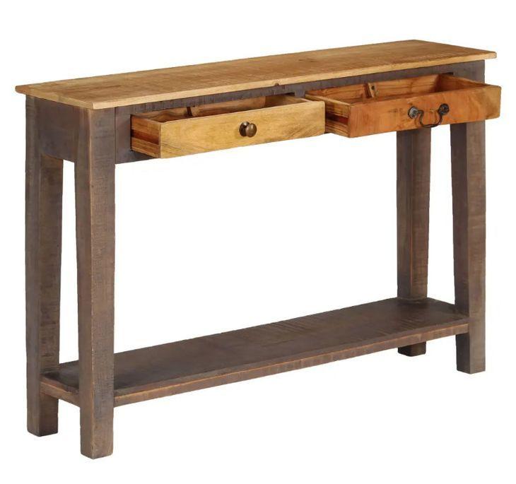 Console 2 tiroirs bois massif foncé et clair Guilty - Photo n°3
