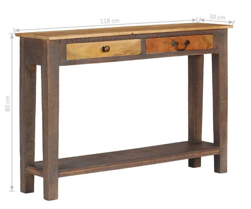 Console 2 tiroirs bois massif foncé et clair Guilty - Photo n°5
