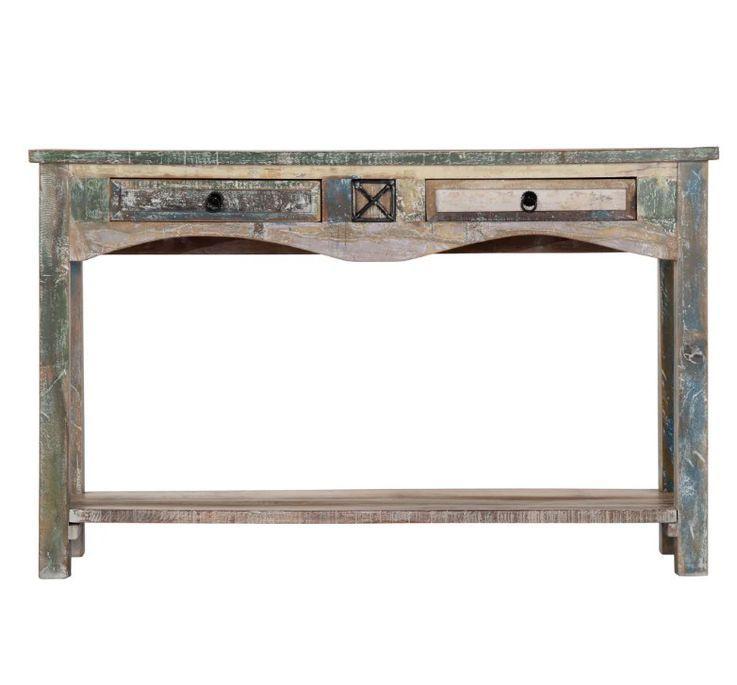 Console 2 tiroirs bois massif recyclé Moust - Photo n°3