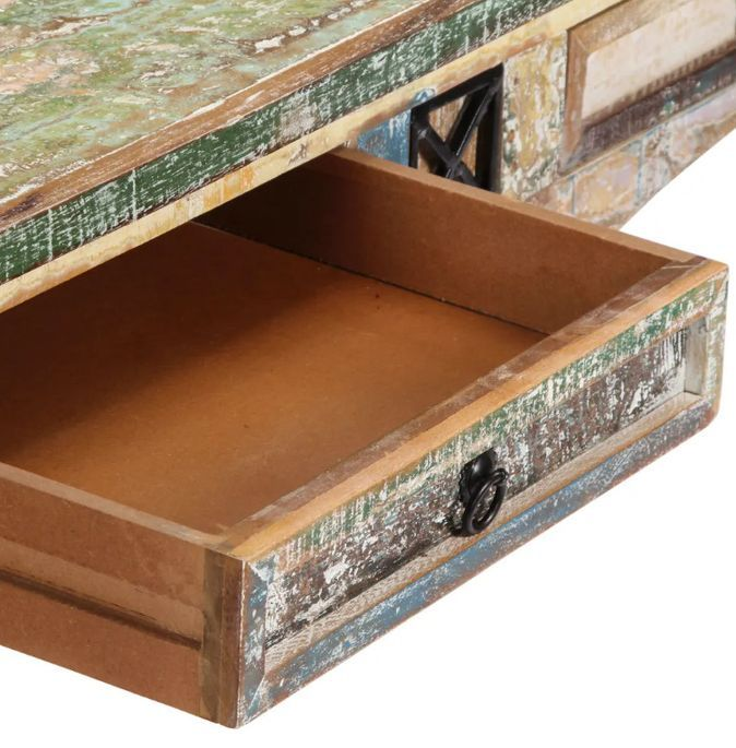 Console 2 tiroirs bois massif recyclé Moust - Photo n°7