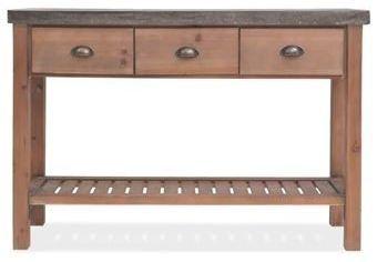 Console 3 tiroirs pin massif plateau en métal galvanisé Cassie - Photo n°3