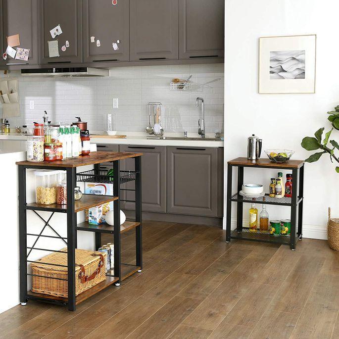 Desserte de cuisine industriel bois vintage et acier noir Kaza 90 cm - Photo n°8