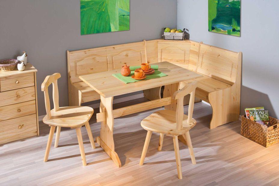 Ensemble table avec banc et chaises pin massif clair Vencia - Photo n°2