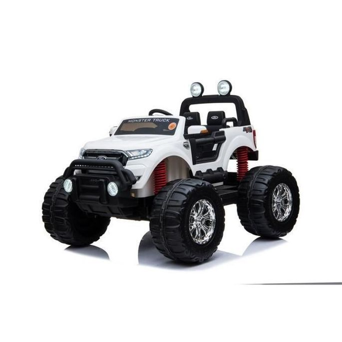 EROAD - Ford Ranger Monster Truck 2 places 4X4 Blanc - 2 places - 12V - Roues gomme - MP3 - Radio FM - Bluetooth - Photo n°1