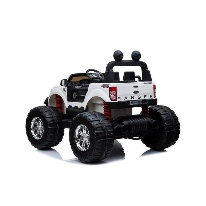 EROAD - Ford Ranger Monster Truck 2 places 4X4 Blanc - 2 places - 12V - Roues gomme - MP3 - Radio FM - Bluetooth - Photo n°3