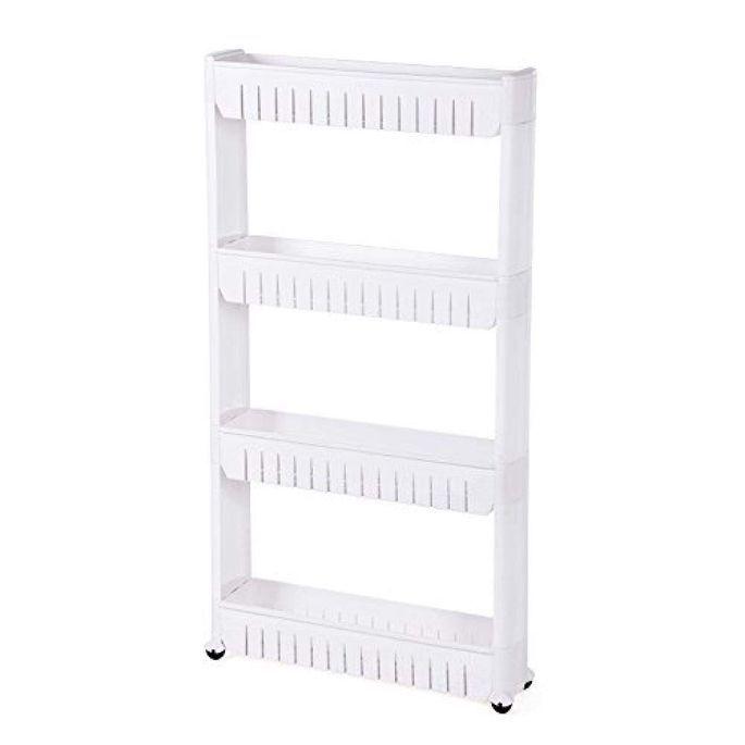 Étagère fine 4 niveaux bois blanc L 54,5 x P 12,7 x H 102,5 cm - Photo n°1