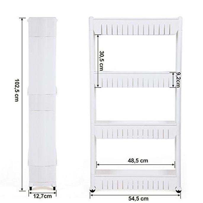 Étagère fine 4 niveaux bois blanc L 54,5 x P 12,7 x H 102,5 cm - Photo n°6