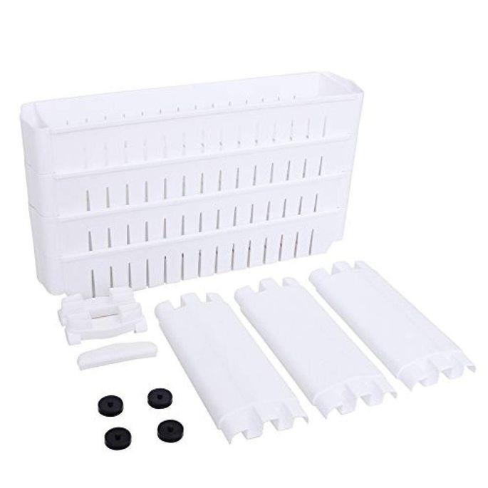 Étagère fine 4 niveaux bois blanc L 54,5 x P 12,7 x H 102,5 cm - Photo n°7